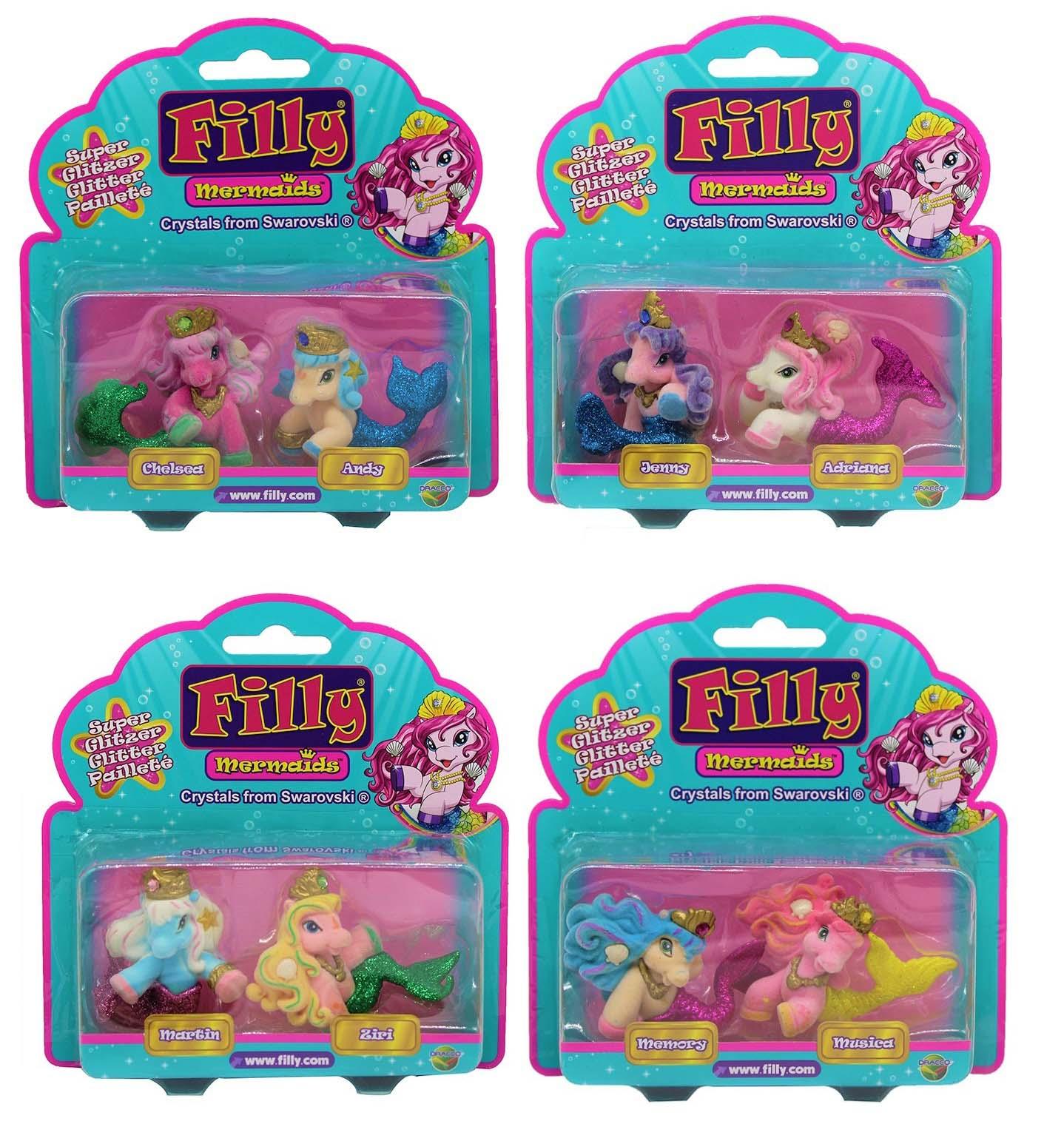 Dracco M063010 Filly Glitzer Mermaids Sammelpferde 2er Pack (Auswahl)