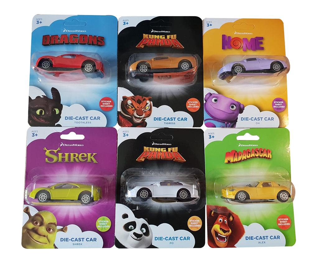 Dreamworks Die-Cast Car 6er Set Modellautos mit Stickern zum bekleben