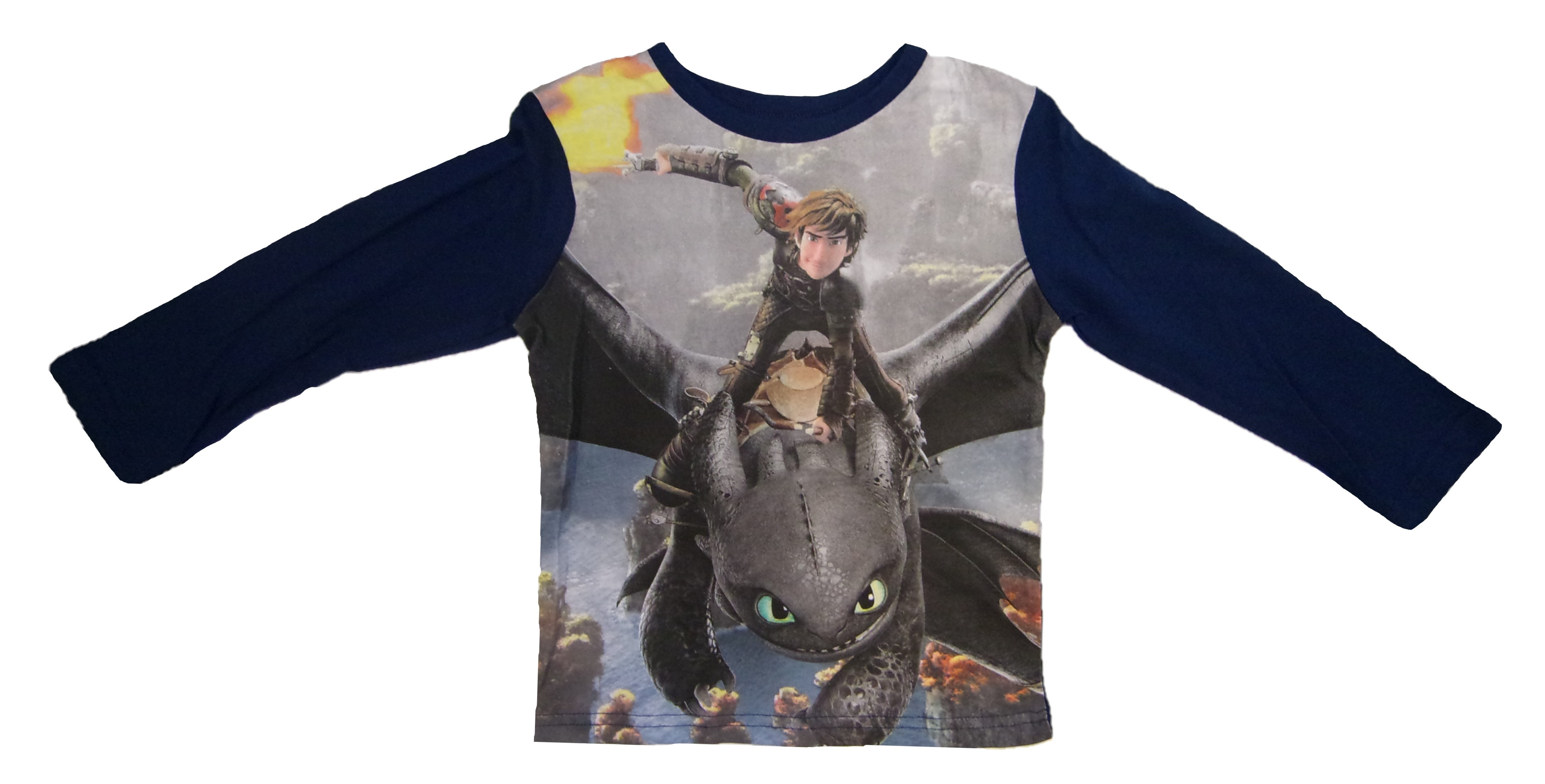 DreamWorks Dragons Langarm-Shirt für Kinder dunkelblau versch. Größen