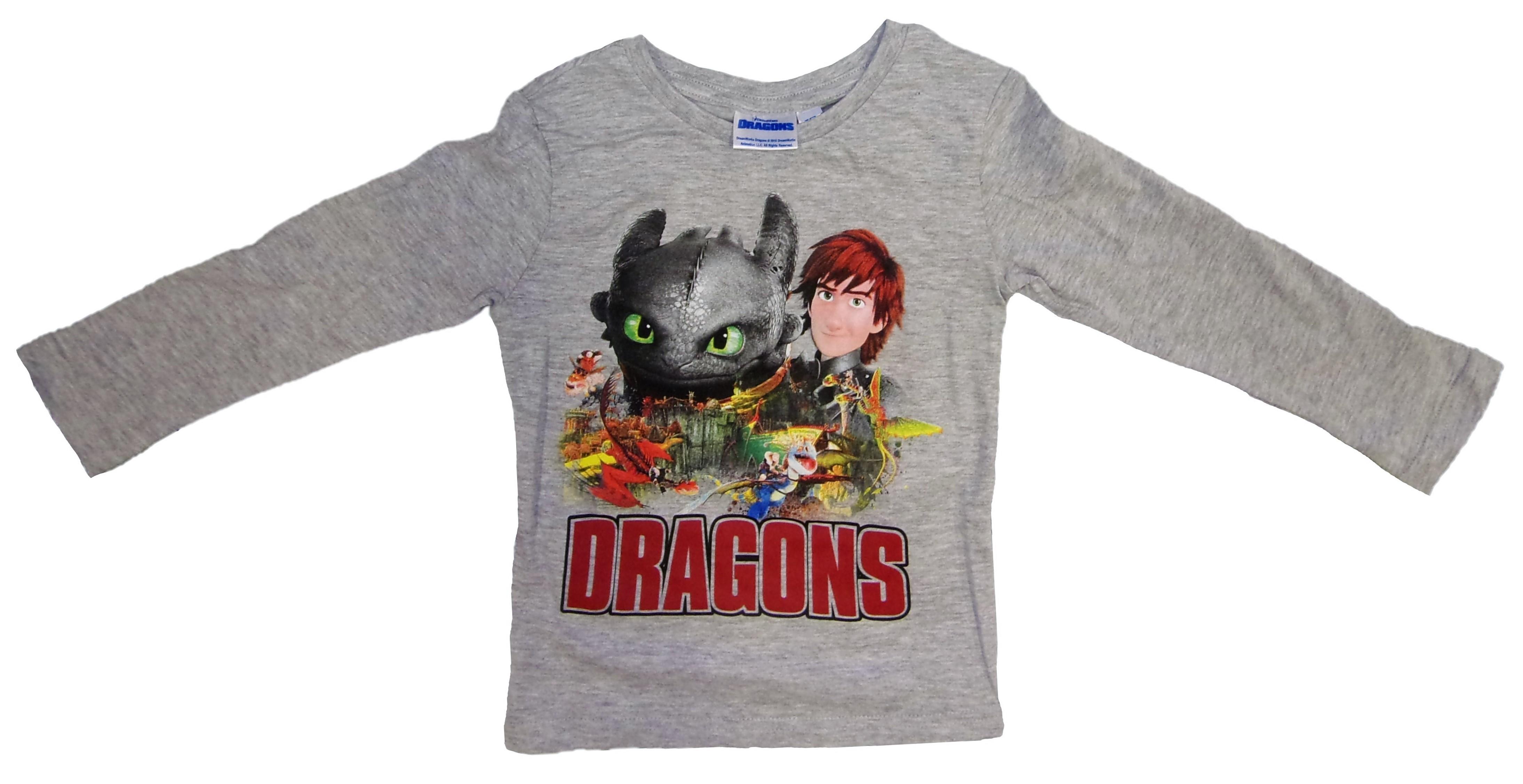 DreamWorks Dragons Langarm-Shirt für Kinder grau versch. Größen (Auswahl)