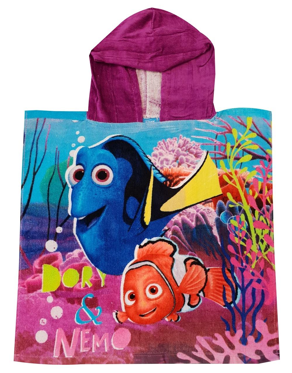 Findet Dorie Kinder Bade-Poncho mit Kapuze Dory und Nemo 50 x100cm