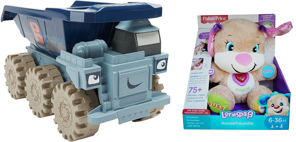 Fisher-Price Mattel CGR43 Hund FDC05 Bob der Baumeister Mega Rumms Riesentruck