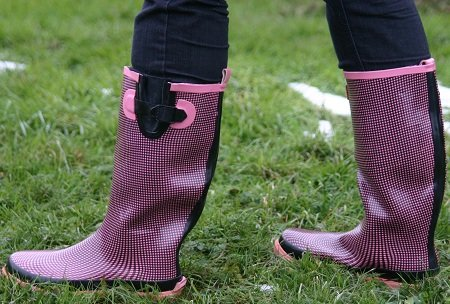 Gummistiefel Rain Boots Sweet Chilli Pink-schwarz kariert 37