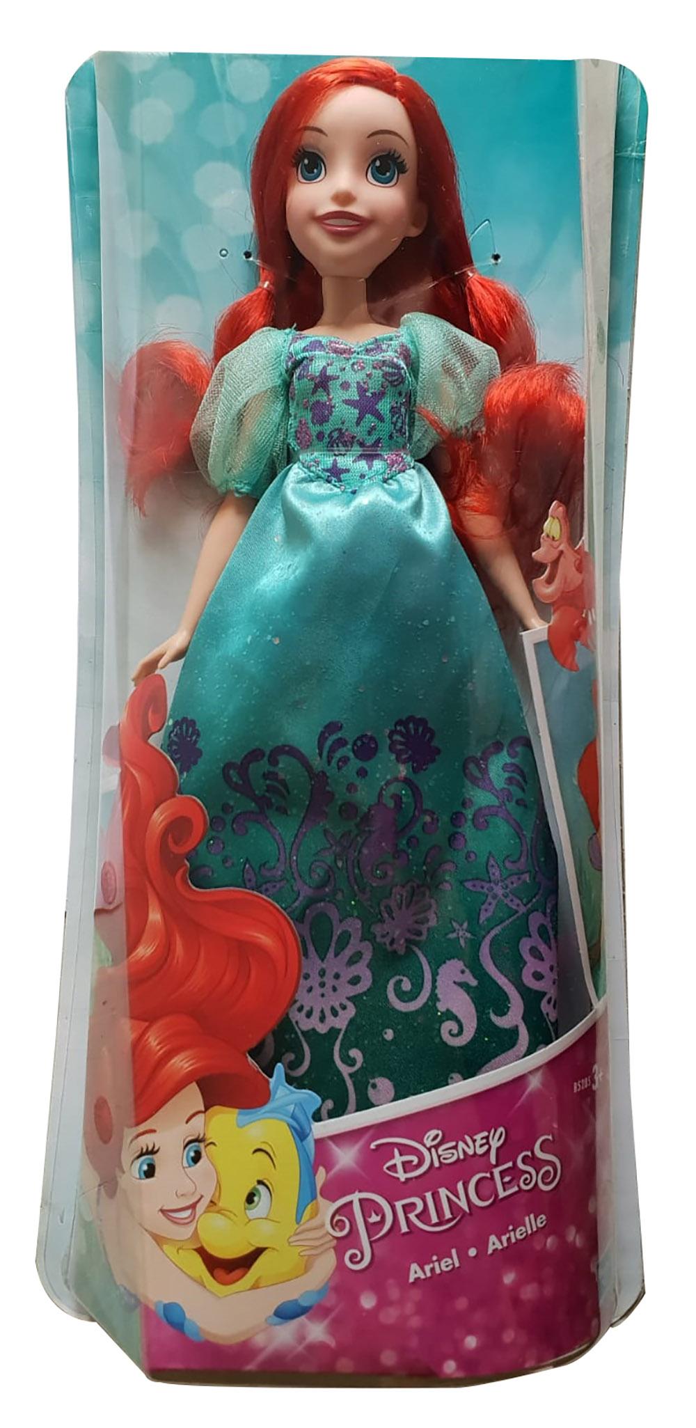Disney Arielle Puppe im glanzvollen Kleid und extra langem roten Haar