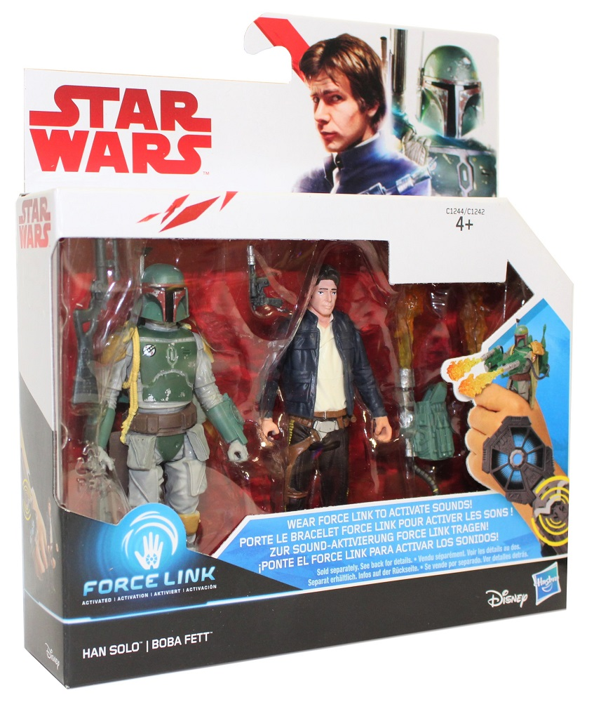 Hasbro Disney Star Wars Force Link Figuren Set Han Solo und Boba Fett