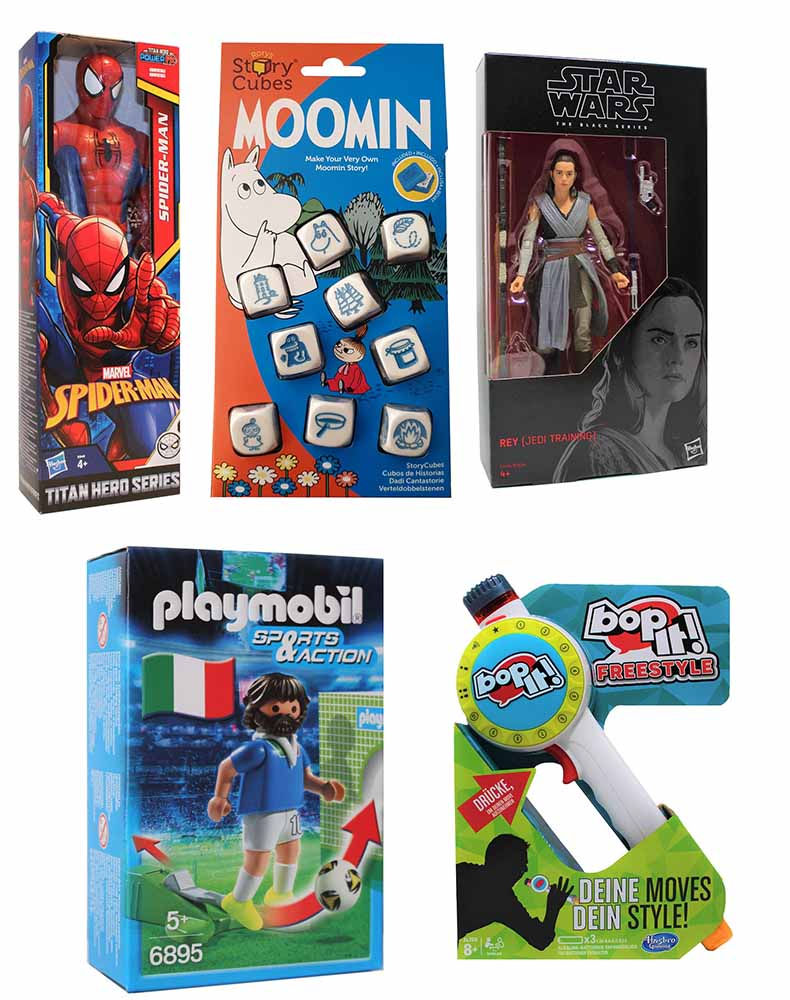 Hasbro bop-it! Spider-Man Playmobil 6895 Rory´s Moomins Würfelbox Star Wars Jedi