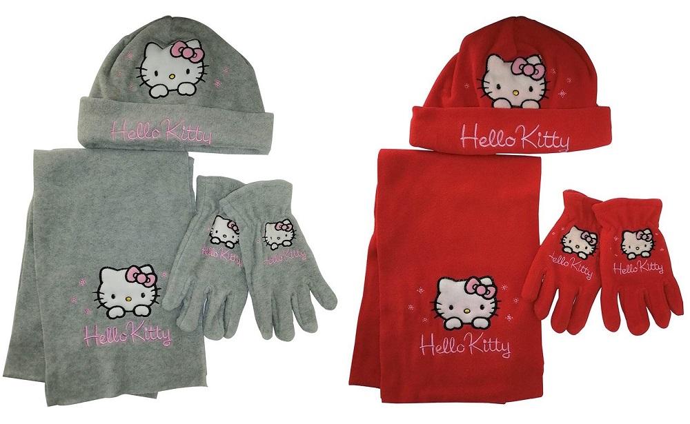 Hello Kitty 2er Winter-Set mit Mütze, Schal, Handschuhe rot-grau versch. Größen