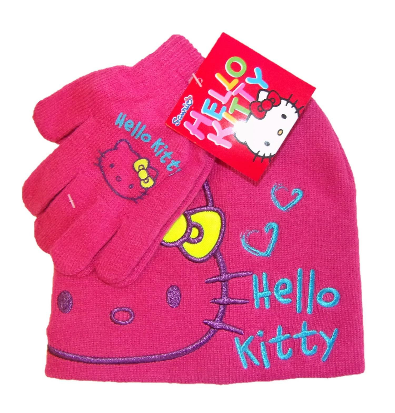 Hello Kitty Mütze-Handschuh Set für Mädchen Pink 52