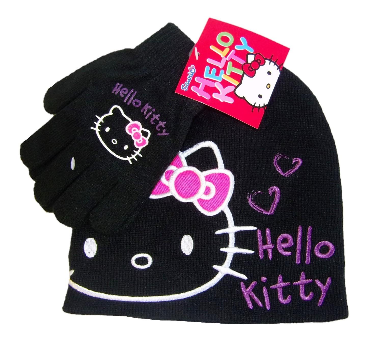 Hello Kitty Mütze-Handschuh Set für Mädchen Schwarz 54