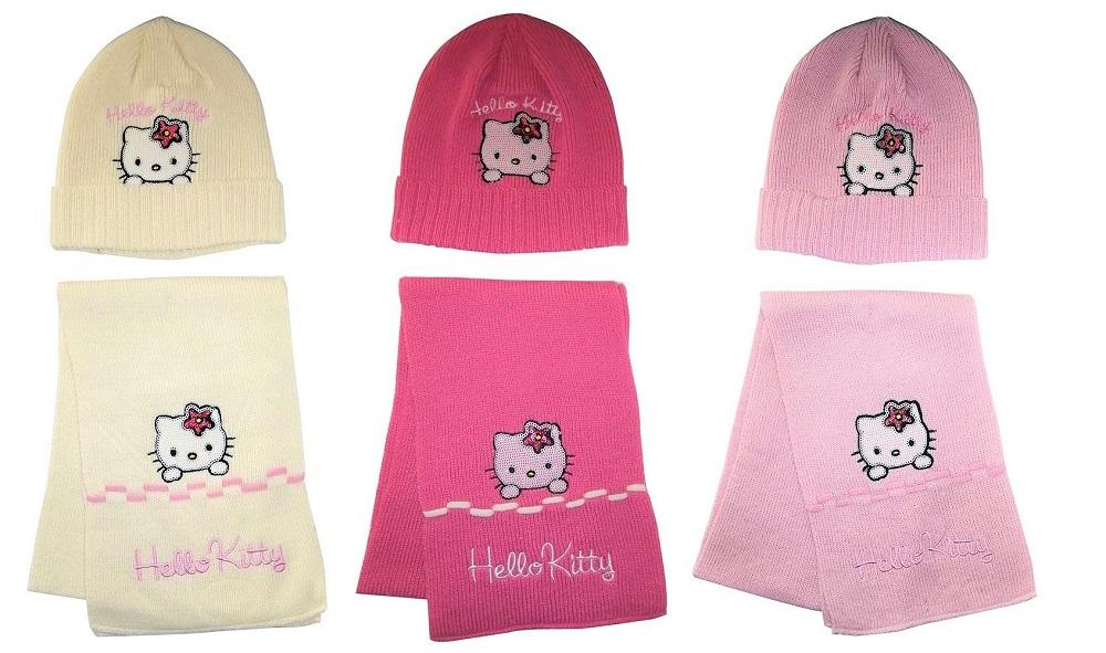 Hello Kitty Winter-Set mit Mütze und Schal für Mädchen verschiedene Farben