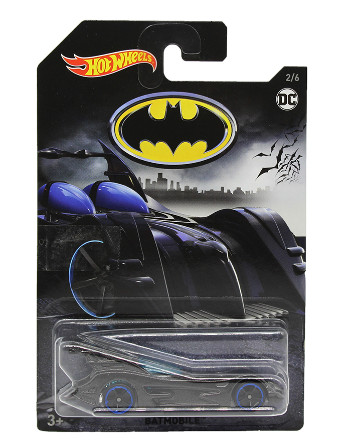 Hot Wheels FKF36 Batman Batmobil mit blauen Felgen, Actioncars