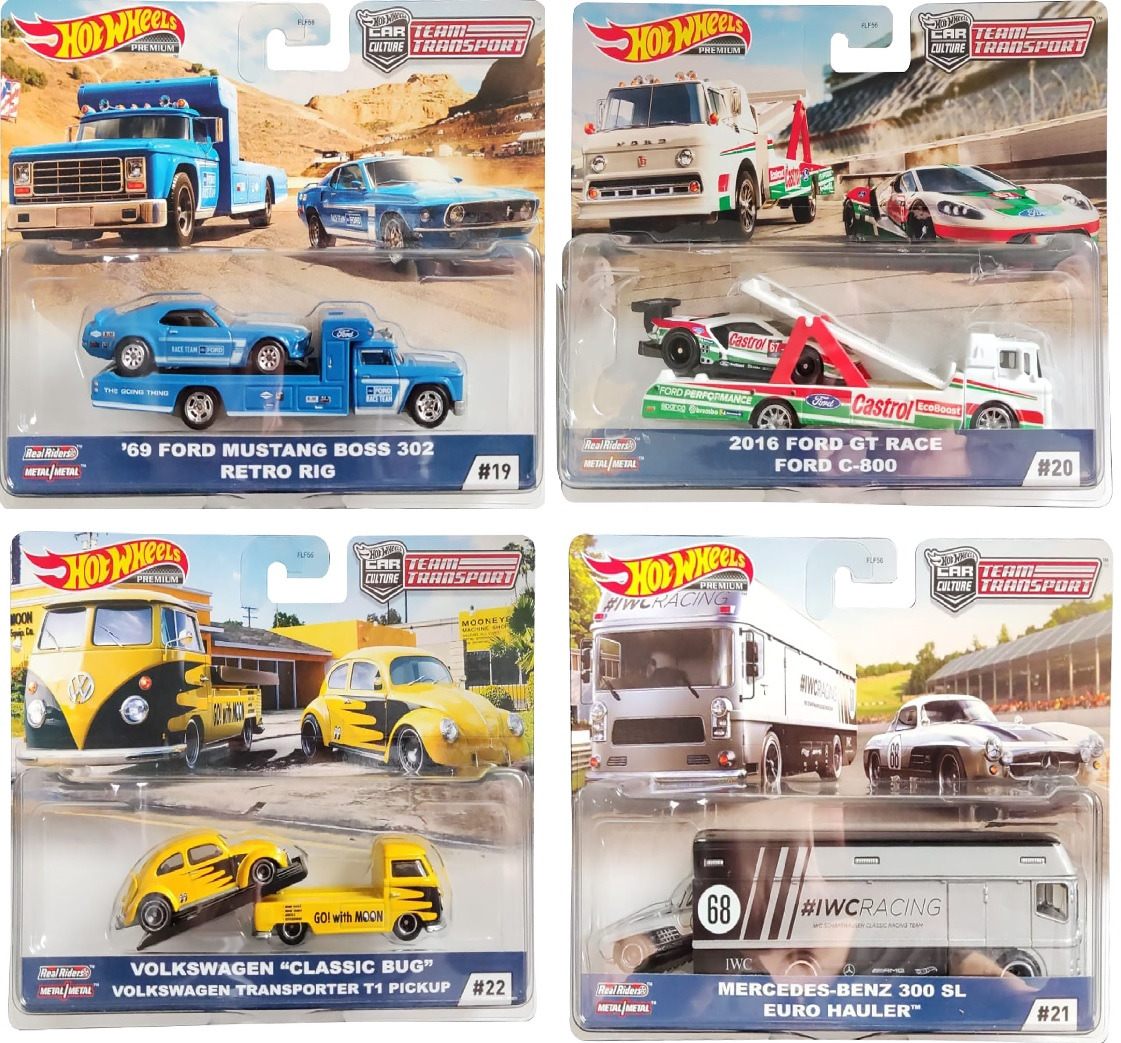 """Hot Wheels Car Culture Dreamtransport Edition 69 Ford Mustang Boss 302 + Retro Rig, 2016 Ford GT Race + Ford C-800, Volkswagen """"Classic Bug"""" + VW Transporter T1 Pickup, Mercedes-Benz 300 SL+ Euro Hauler (Auswahl)"""
