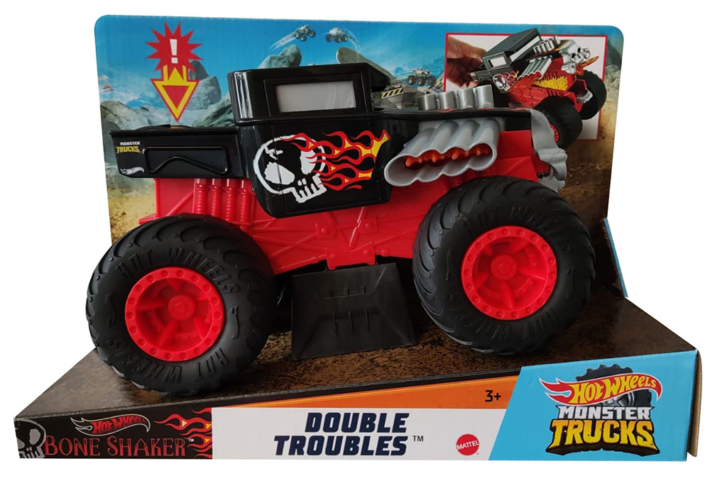 Hot Wheels GCG07 - Monster Trucks Double Troubles Bone Shaker, Maßstab 1:24