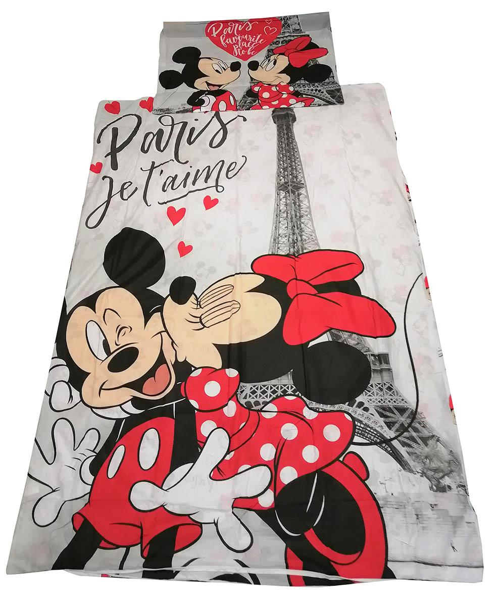 Disney Bettwäsche-Set Mickey und Minnie Maus in Paris, 140 x 200, 100% Baumwolle