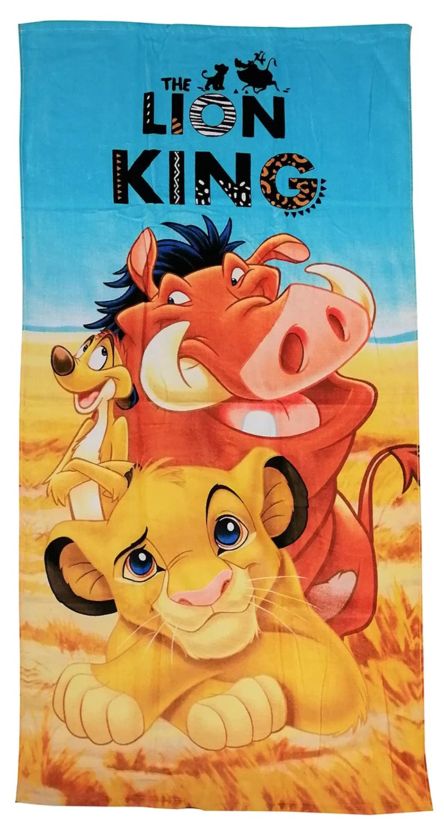 Disney Handtuch König der Löwen Simba, Timon und Pumbaa 70 x 140 cm, 100% Baumwolle