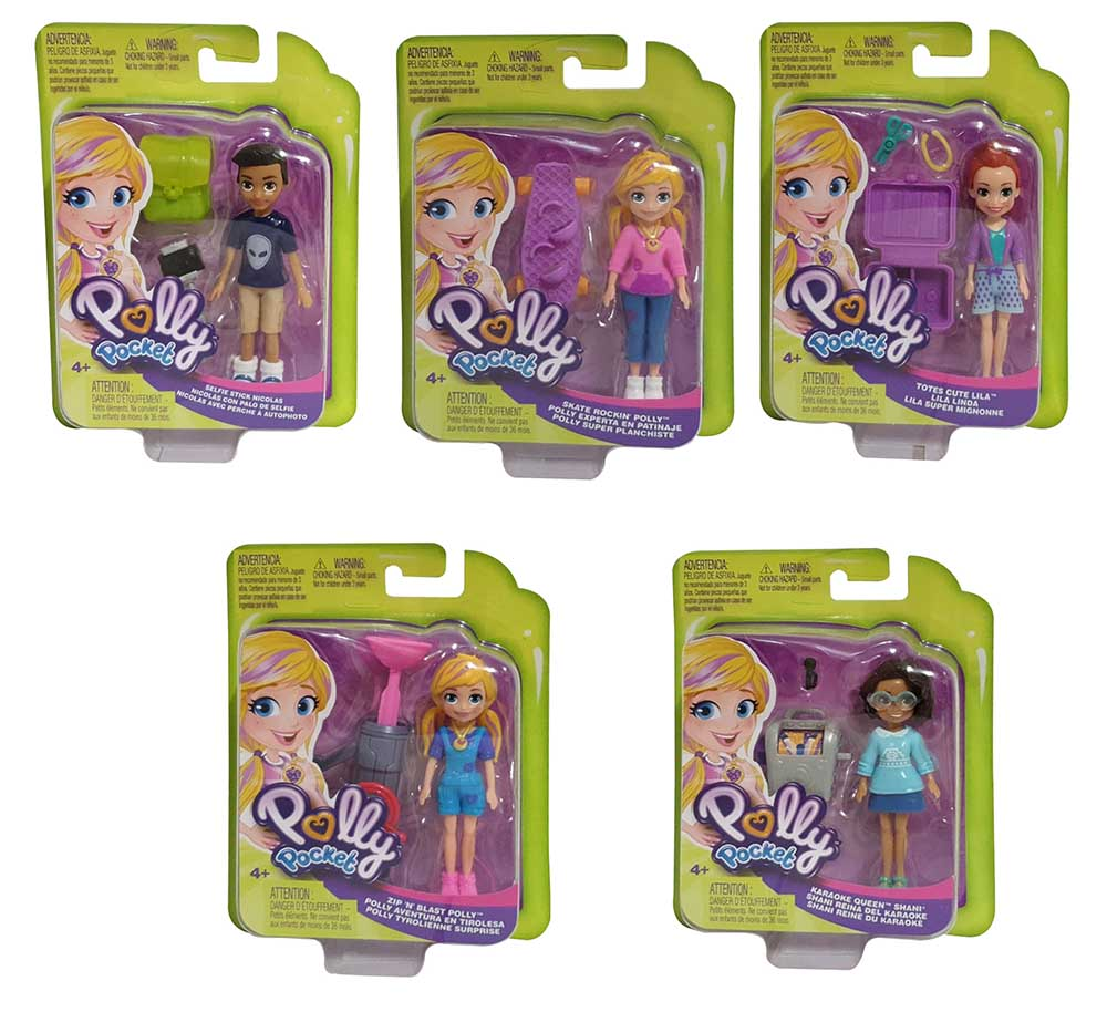 5-er Pack Polly Pocket Puppen, Totes Cute Lila, Scate Rockin, Selfie Stick Nicol