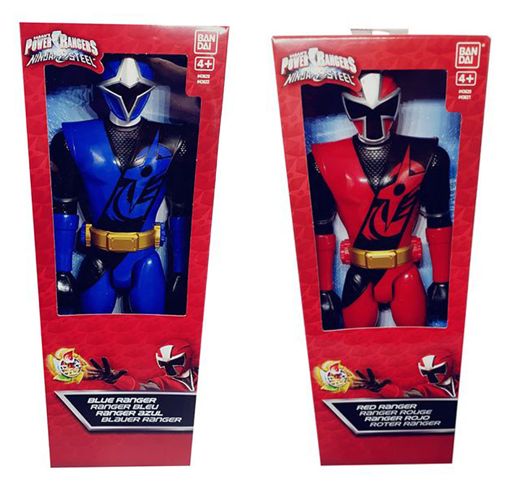 Bandai 2 Power Ranger Rot & Blau Ninja Steel bewegliche Action-Figuren 30 cm