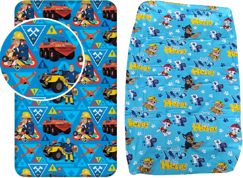Bettlaken Spannbetttuch Paw Patrol Marshall Chase Feuerwehrmann Sam 90 x 200 + 25 cm 100% Baumwolle (Auswahl)