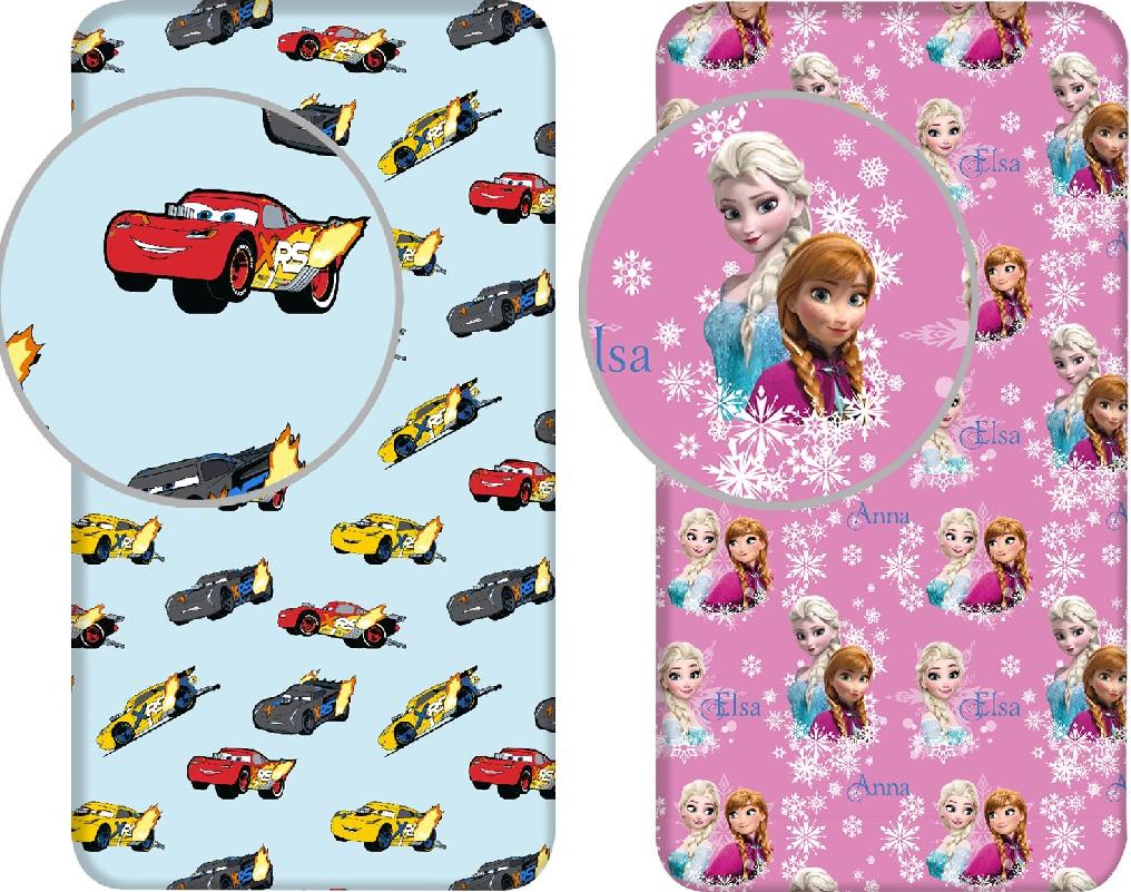 Disney Spannbetttuch Cars oder Frozen Anna Elsa Bettlaken 90 x 200 + 25 cm 100% Baumwolle (Auswahl)