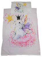 Babybettwäsche Kinderbettwäsche 100 % Baumwolle Wendemotiv Kaninchen mit Krone 100x135 cm + 40x60 cm