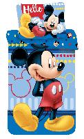 """Bettwäsche Set Disney Mickey Maus """"Hello"""" 140x200 Bettdecke + 70x90 cm Kopfkissen, 100% Baumwolle, mit Reißverschluss"""
