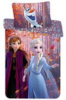 Bettwäsche Set Disney Frozen 2 Anna und Elsa Leaves 140 x 200 + 70 x 90 cm, 100% Baumwolle, mit Reißverschluss