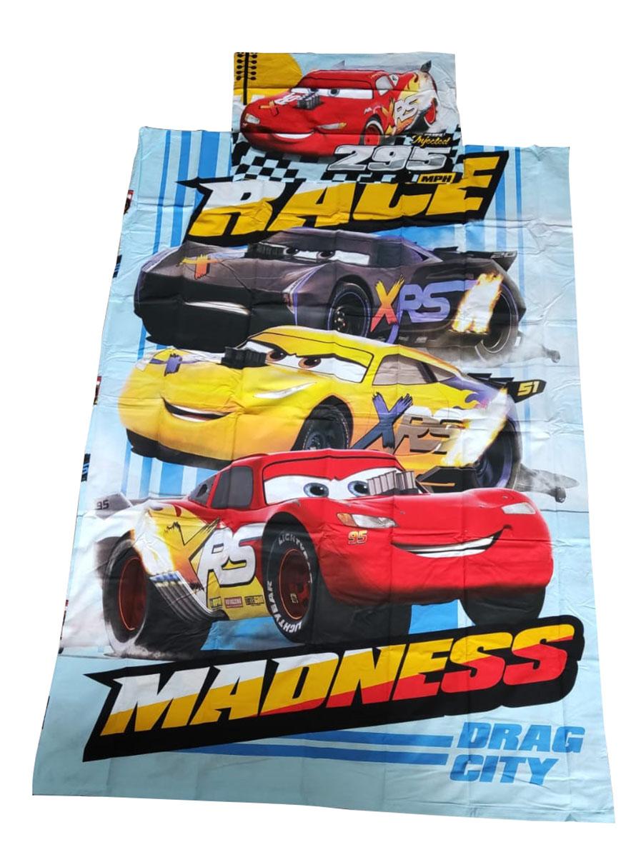 Bettwäsche Set Disney Cars 140 x 200 Bettdecke + 50 x 70 cm Kopfkissen, 100% Baumwolle, mit Reißverschluss