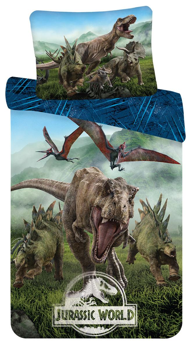 """Bettwäsche Set Jurassic World """"Forest"""", 140x200 + 70x90 cm, 100% Baumwolle, mit Reißverschluss"""
