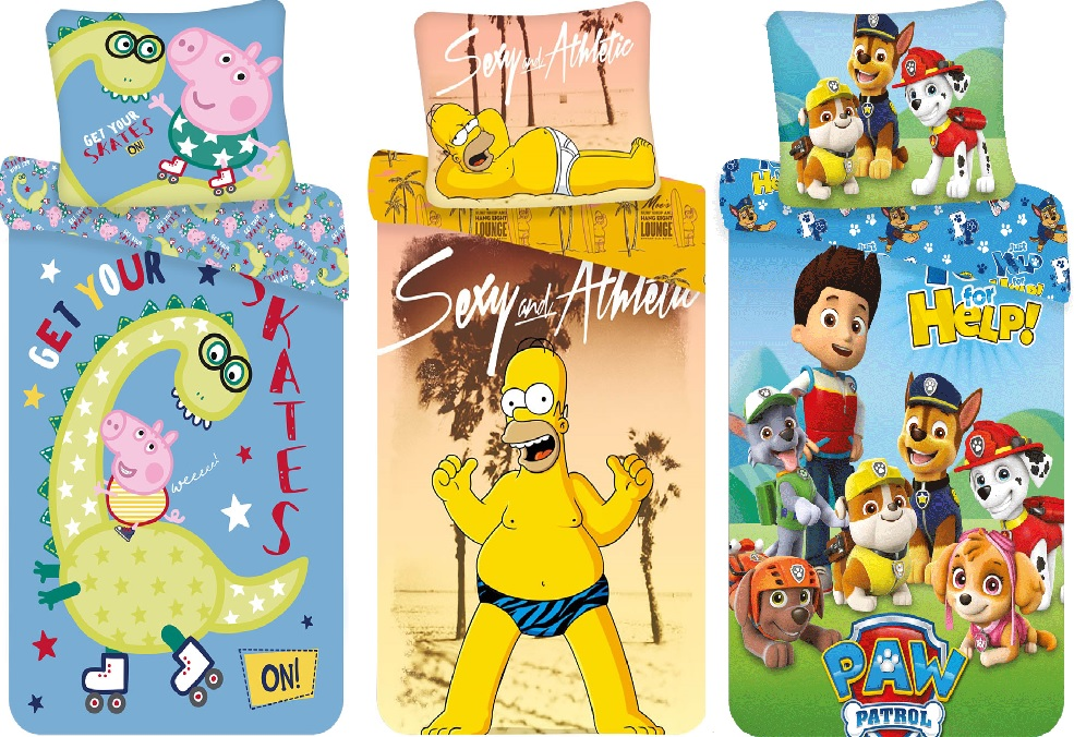 "Bettwäsche Set Peppa Pig, The Simpsons Homer ""Beach"" Paw Patrol  140x200 Bettdecke + 70x90 cm Kopfkissen 100% Baumwolle (Auswahl)"
