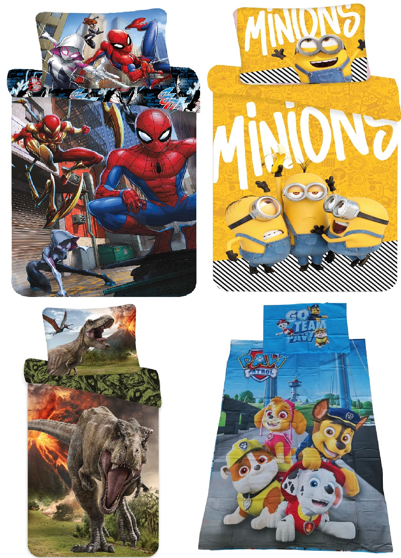 "Bettwäsche Set Spider-Man, Minions Bob Kevin Stuart Yellow, Jurassic World ""Volcano"", Paw Patrol 140x200 + 70x90 cm, 100% Baumwolle (Auswahl)"