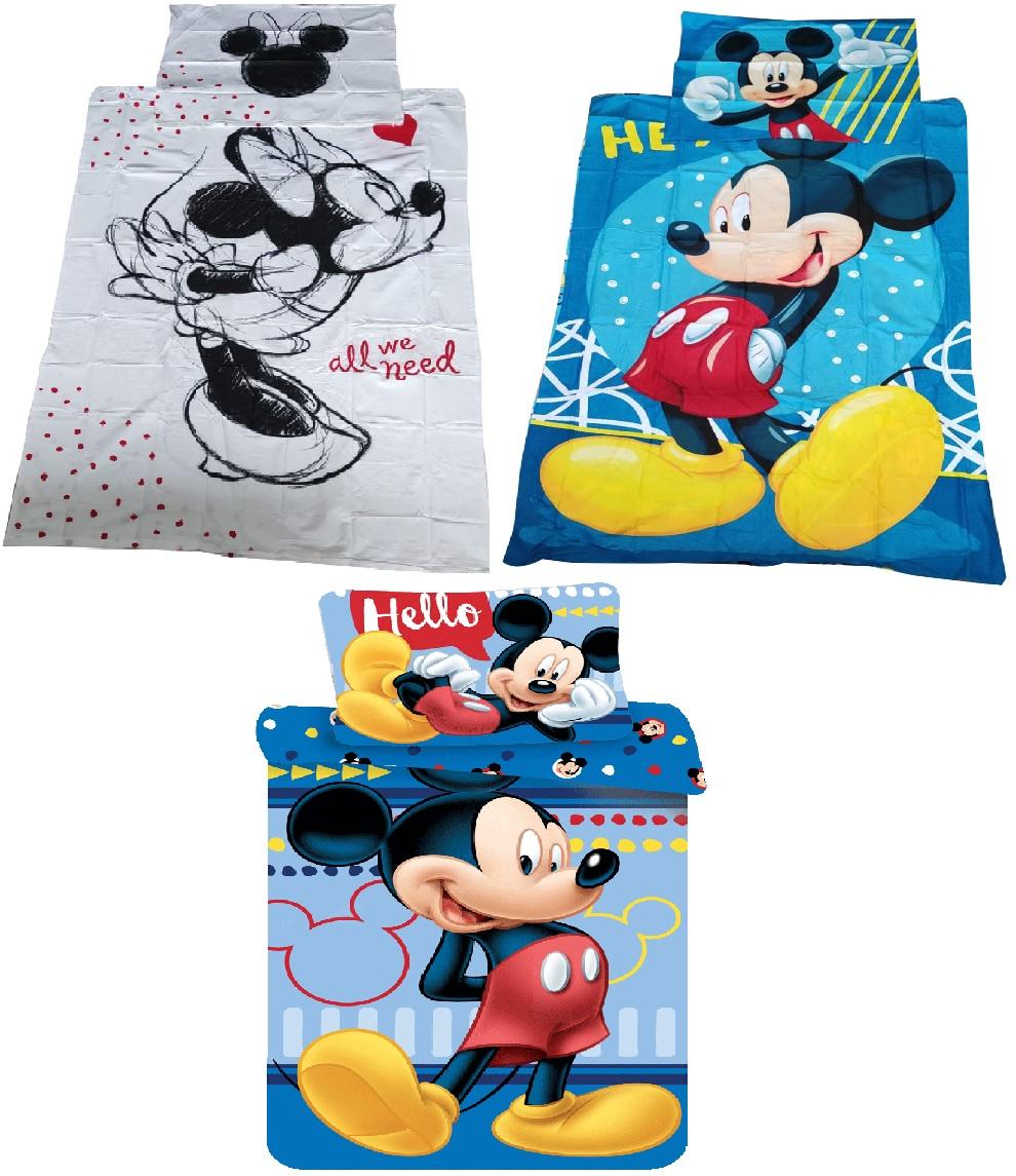 Bettwäsche Set Motiv Disney Mickey Maus 140 x 200 Bettdecke + 70 x 90 cm Kopfkissen 100% Baumwolle (Auswahl)