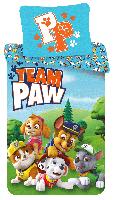 """Bettwäsche Set Paw Patrol """"Team Paw"""", 140x200 cm Bettdecke + 70x90 cm Kopfkissen, 100% Baumwolle, mit Reißverschluss"""