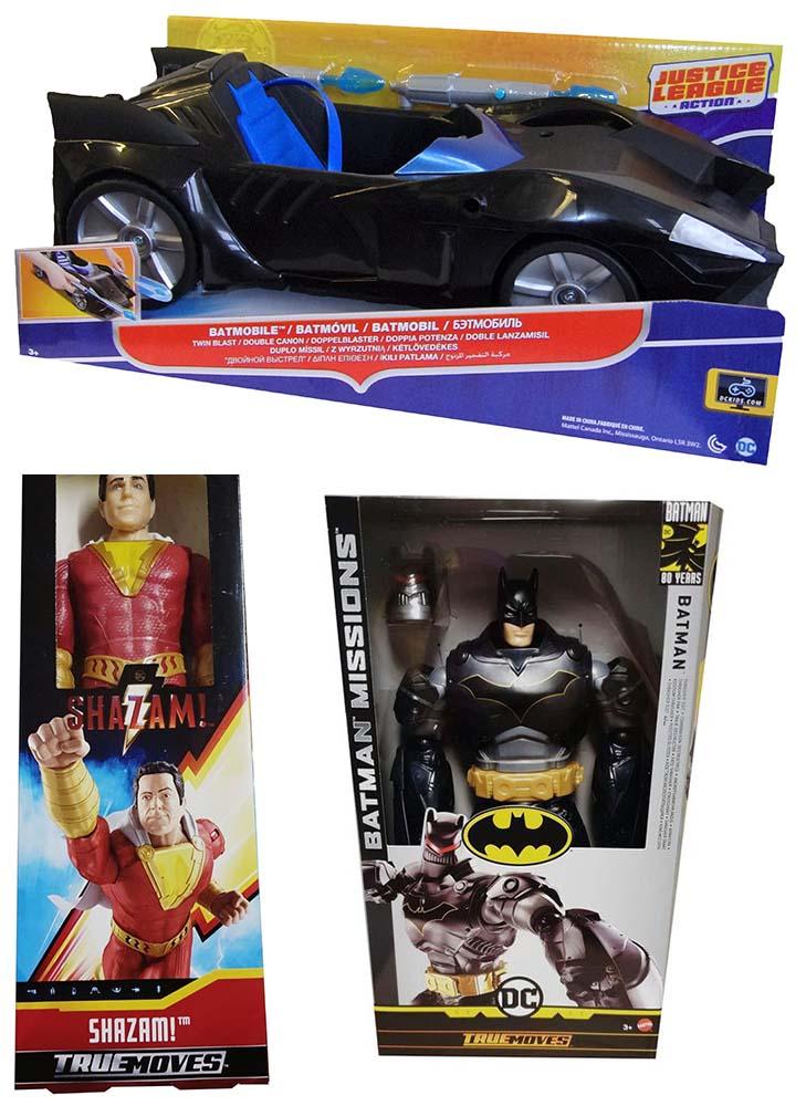 Justice League Actionfigur Batmobil FDF02-DC Mattel Shazam True Moves Batman