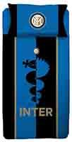 Bettwäsche Fanartikel Inter Mailand Blau Schwarz Gold gestreift 140x200 Bettdecke + 60x63 cm Kopfkissen 100% Baumwolle