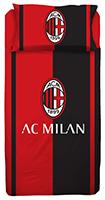 Bettwäsche Fanartikel AC Mailand Rot Schwarz gestreift ACM 1899 140x200 cm + 60x63 cm 100% Baumwolle