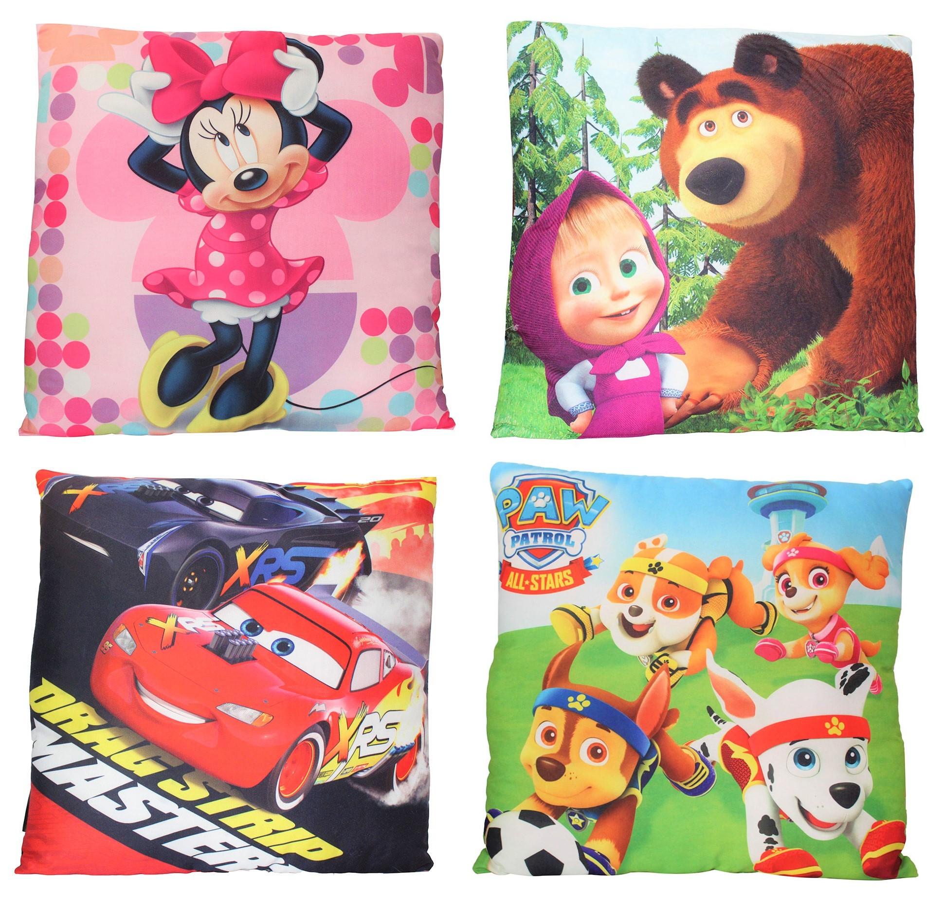 Kinder Kissen 40 x 40 cm Mascha und der Bär, Minnie Maus, Cars und Paw Patrol
