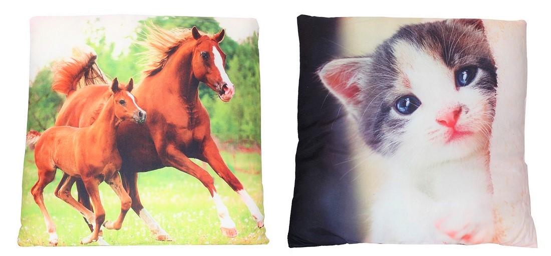 Kissen verschiedene Tiermotive zweiseitig bedruckt 40 x 40 cm (Auswahl)