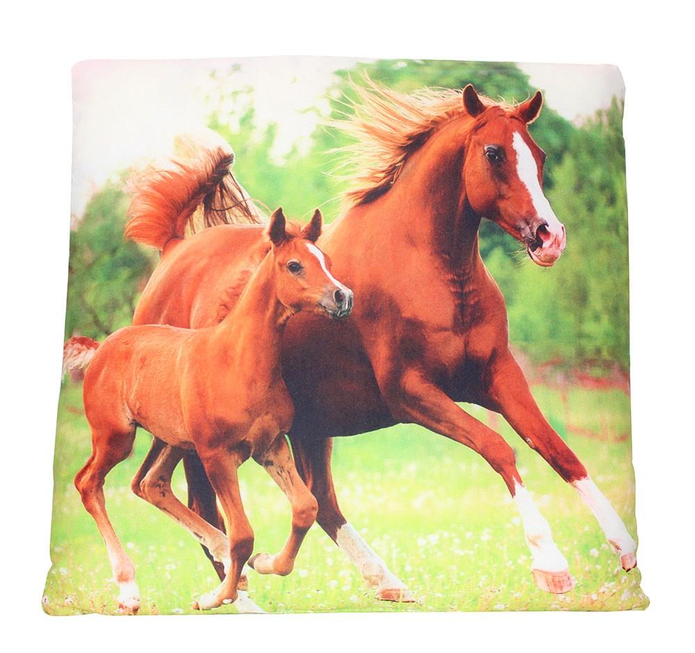 Kissen mit Motiv braune Pferde zweiseitig bedruckt 40 x 40 cm