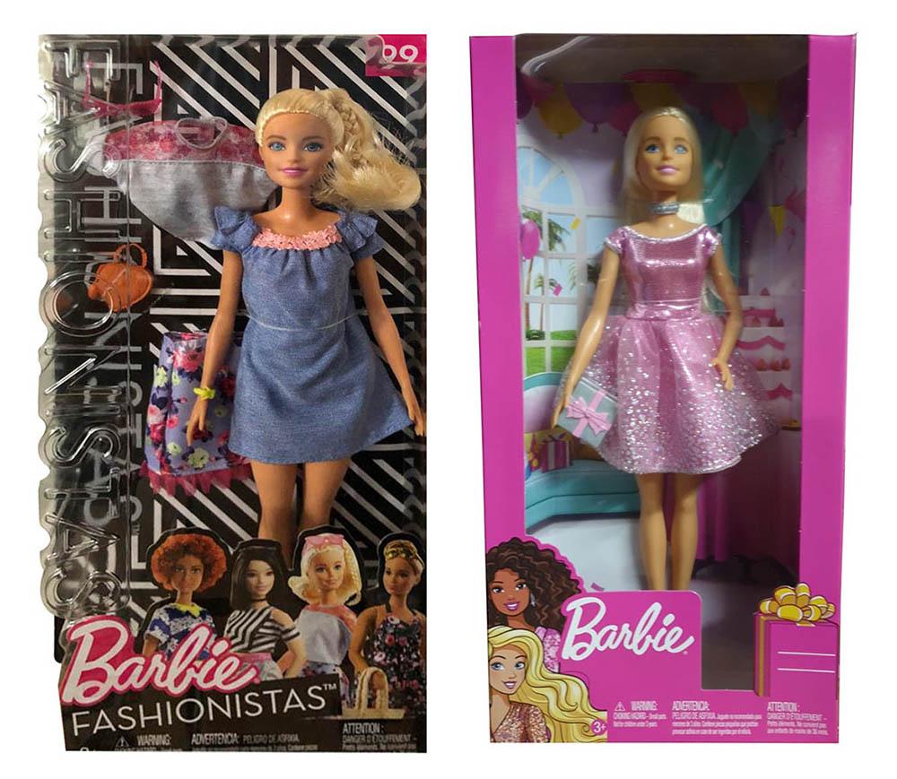Mattel Barbie Happy Birthday Puppe mit Geschenk Fashionistas blaues Kleid blond