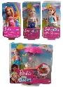 Mattel Barbie 4er Geschenk Set GHV76 Chelsea Imbisswagen, FKN05 Mini-Meerjungfrau, FXG82 Chelsea Mädchen blond, FXG81 Chelsea Mädchen rothaarig