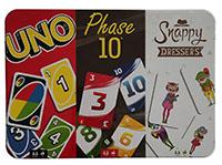 Mattel Games FFK01 3er Spielsammlung UNO Phase 10 Snappy Dressers Kartenspiele in Metallbox