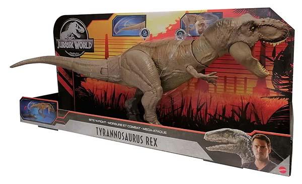 Mattel Jurassic World Tyrannosaurus Rex Mega-Attacke riesige Actionfigur 55 cm braun für Kinder
