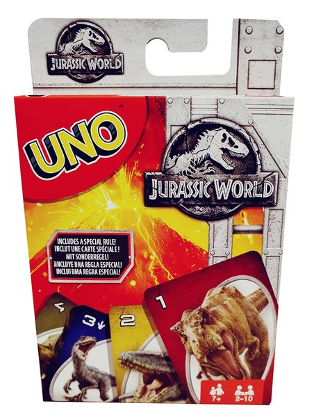 Mattel Spiele FLK66 Uno Jurassic World 2 Dinosaurier-Kartenspiel