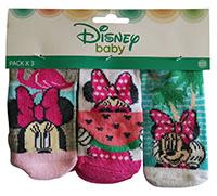Disney Minnie Maus Baby Socken Strümpfe 3er Pack für Babys Rosa, Pink, Türkis, Grau, 0-6 Monate