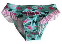 Disney Minnie Maus Bikinihose, Badehose, Badeslip, mit Flamingos Türkis für Kinder, Gr. 128