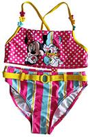 Disney Minnie Maus Daisy Duck Badeanzug Bikini 2-teilig Pink Gelb mit Punkten für Kinder Gr. 128