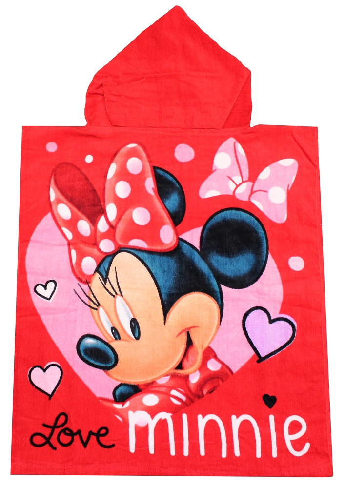 Minnie Maus Kinder Badeponcho mit Kapuze Love Minnie 50 x 115 cm