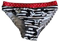 Disney Mickey Maus Bikinihose, Badehose, Badeslip für Kinder, schwarz-weiß gestreift, Gr. 116