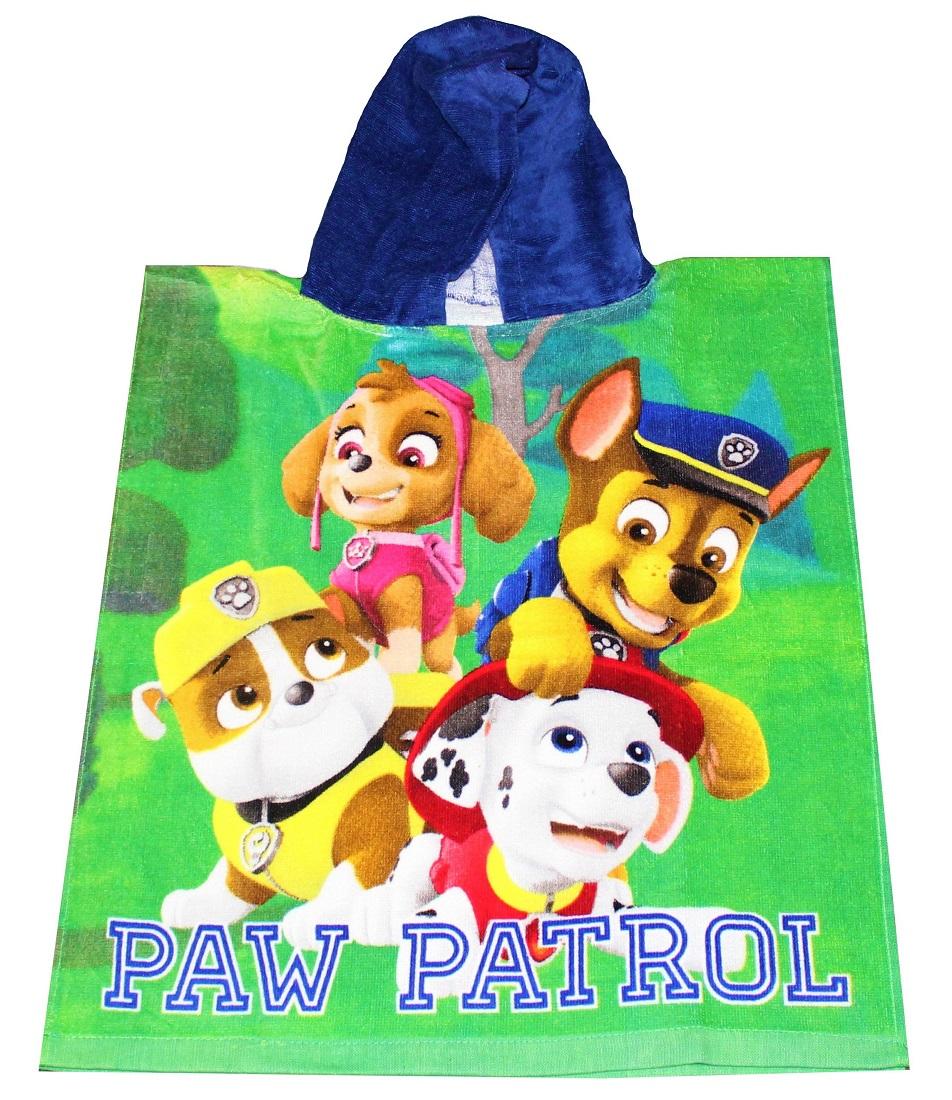 Nickelodeon Paw Patrol Kinder Badeponcho mit Kapuze Poncho 50 x 115 cm