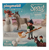 PLAYMOBIL DreamWorks Spirit 70398 Schnee-Abenteuer mit Snips & Herrn Karotte, Spielset